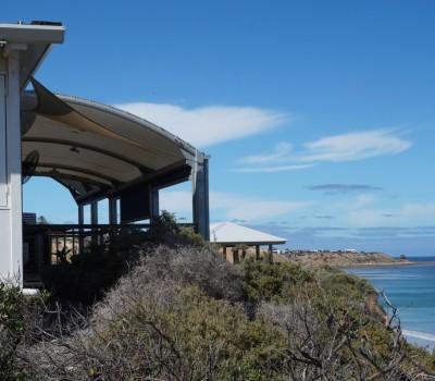 Custom shade structure PVC membrane Star of Greece restaurant shelter Port Willunga City of Onkaparinga